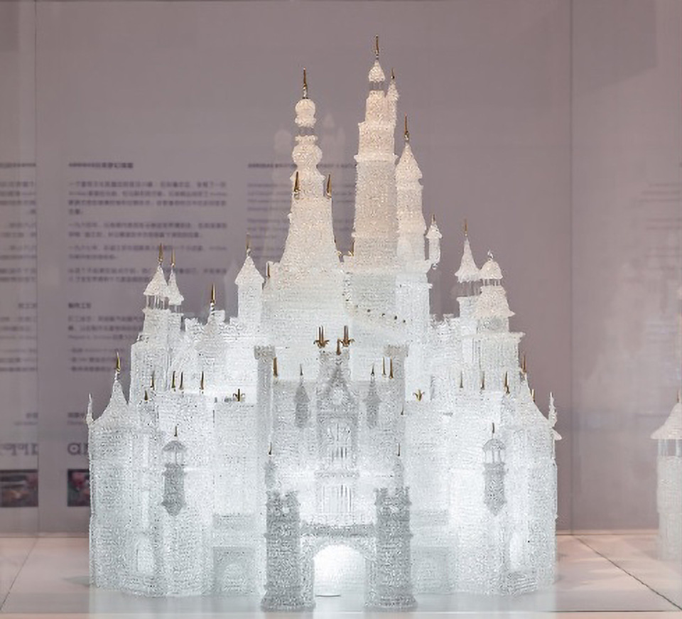 The glass model of Shanghai Disneyland's Cinderella's Castle