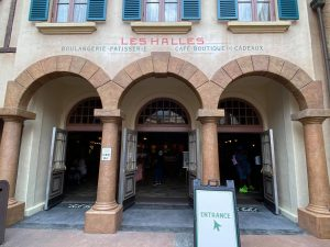 This is a photo of the front facade of Les Halles, the French Pavilion in Epcot.